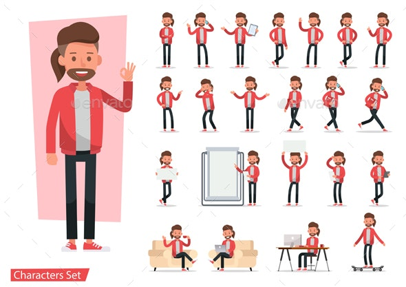 Set of Office Man Worker Character Vector Design. - People Characters