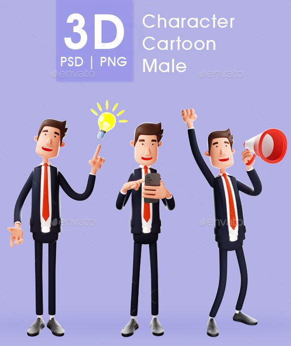 Businessman - A Young Businessman Stands with Have an Idea, Holding Handphone and Speaker - 3D Renders Graphics