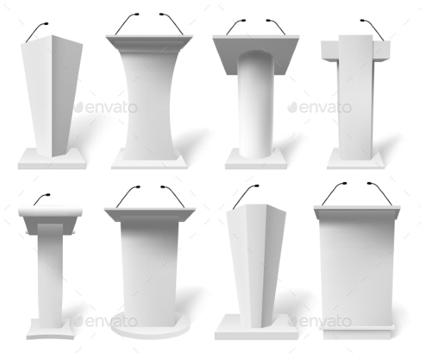 Realistic Speech Tribune - Objects Vectors