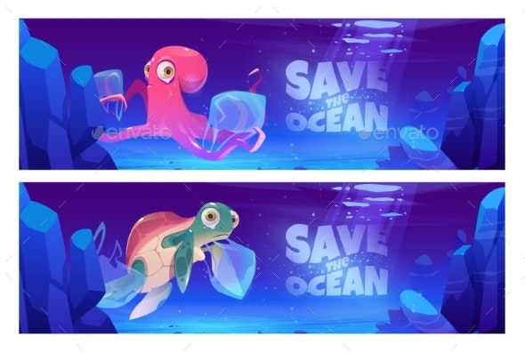 Save Ocean Cartoon Banners with Underwater Animals - Animals Characters