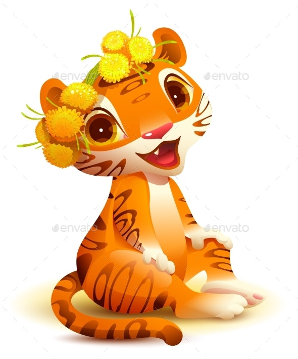 Tiger Cub Sits and Smiles - Animals Characters