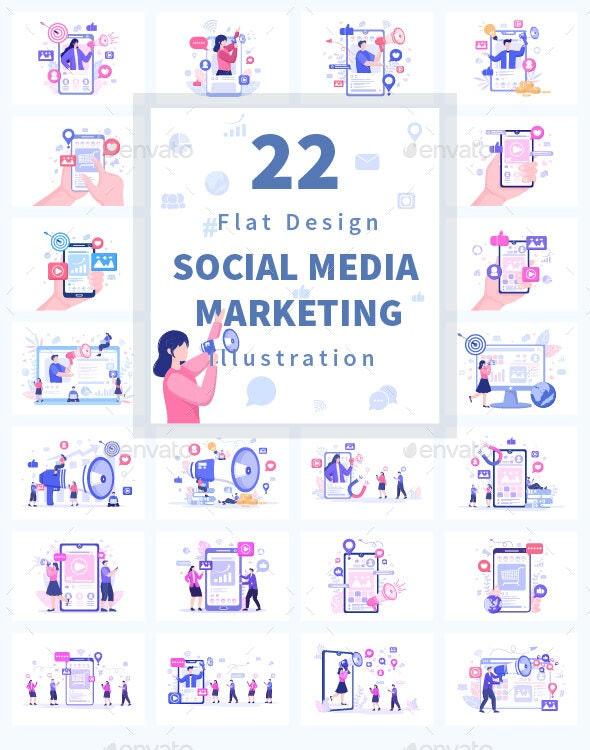22 Social Media Marketing Flat Illustration - Media Technology