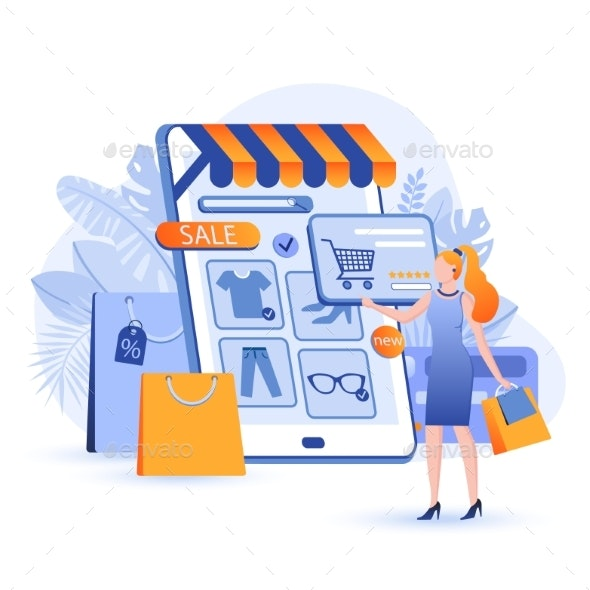 Online Shopping Scene - Technology Conceptual