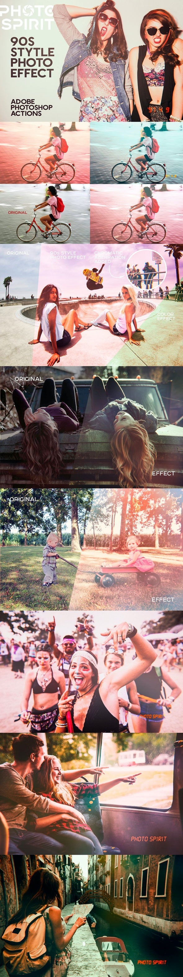 90s Style Photo Effects Photoshop - Photo Effects Actions