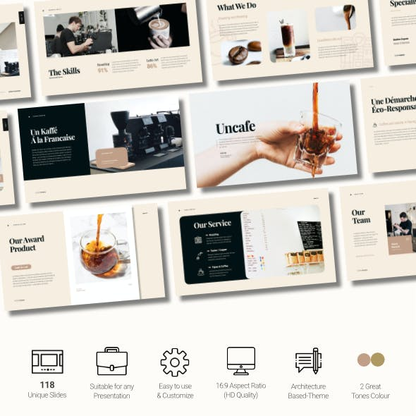 Uncafe Creative Food and Beverage Business Google Slides Template