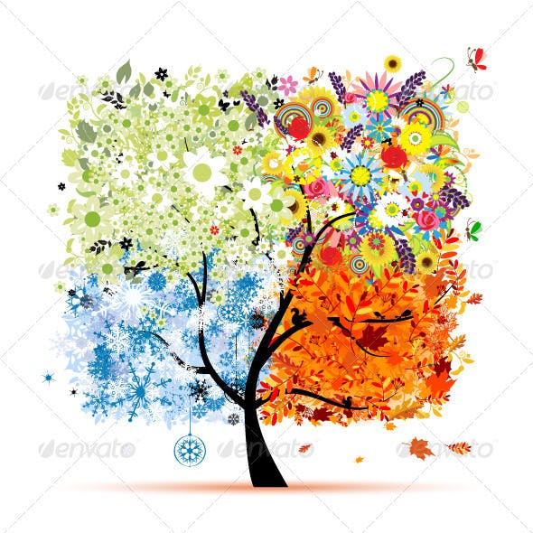 Four Seasons Tree - Spring, Summer, Autumn, Winter