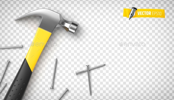 Vector realistic hammer and nails - Objects Vectors