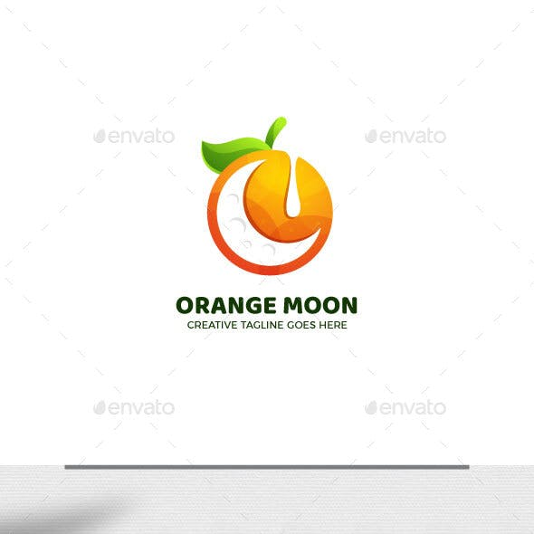 Orange Moon Gradient Logo Template