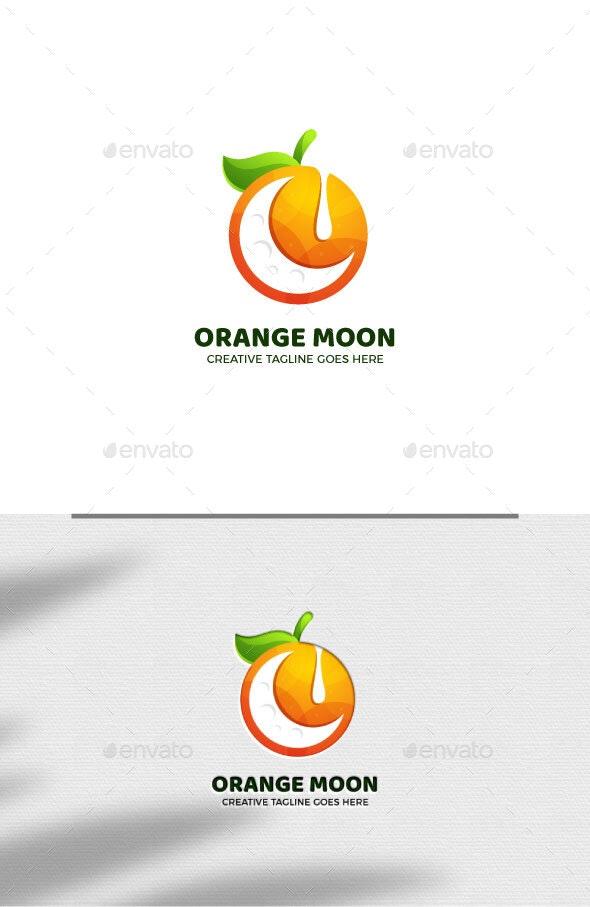 Orange Moon Gradient Logo Template - Food Logo Templates