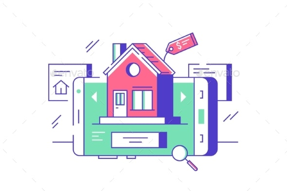 Real Estate Online Sale or Rent - Technology Conceptual