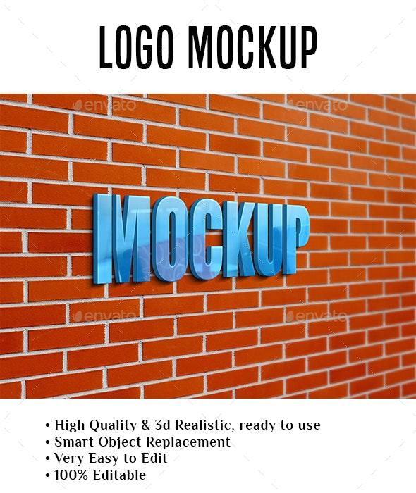 Brick wall logo mockup - Product Mock-Ups Graphics