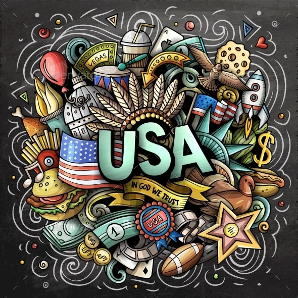 USA Hand Drawn Cartoon Doodle Illustration - Travel Conceptual