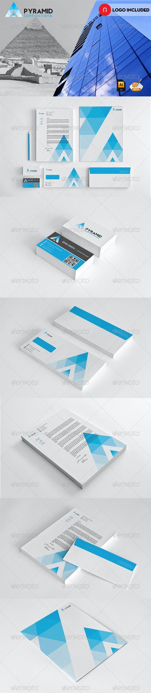 Corporate Startioney Pyramid Contruction - Stationery Print Templates
