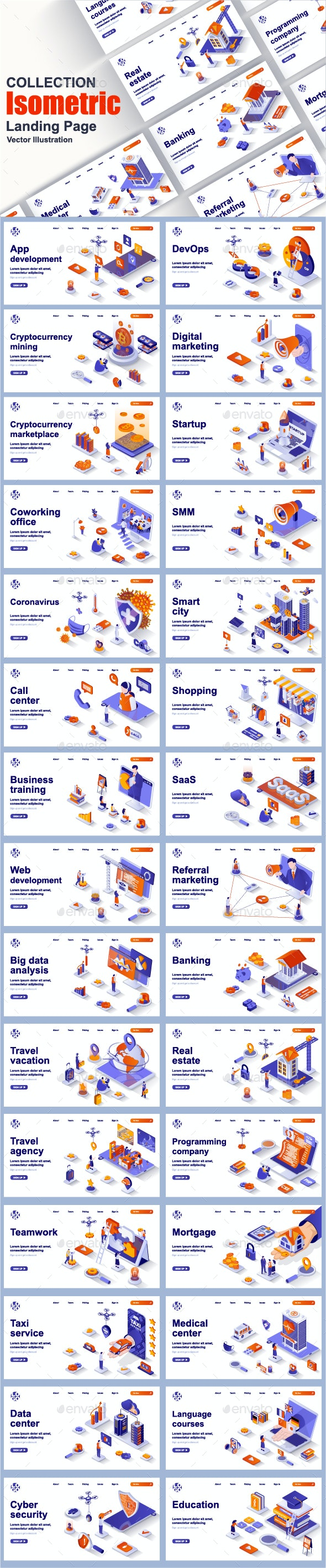 Isometric Landing Page Template Pack - Web Elements