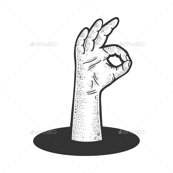 Ok Gesture From Underground Hole Sketch Vector