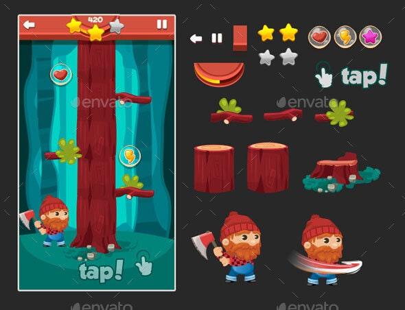 Tap Game Assets - Lumberjack - Game Assets