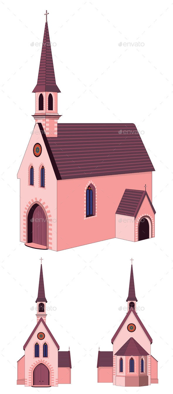 Catholic Church Building - Buildings Objects