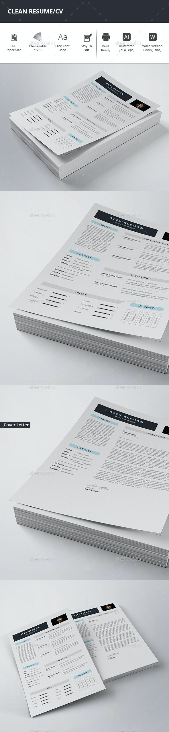 Clean Resume/CV - Stationery Print Templates