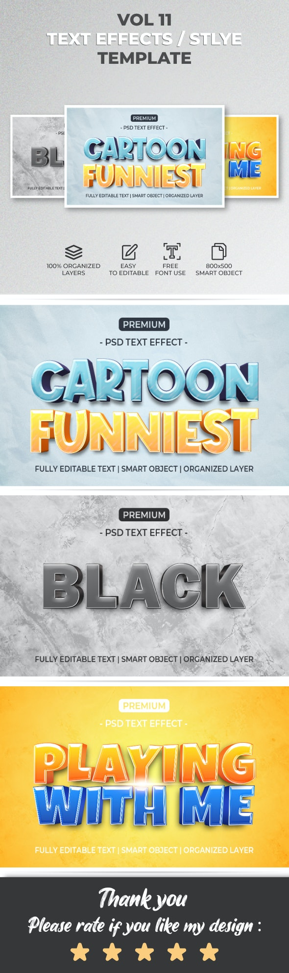 Text Effect Style Template Style Vol.11 - Text Effects Actions