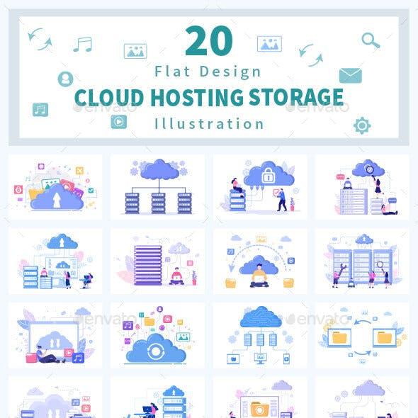 20 Cloud Storage Hosting Service Illustration