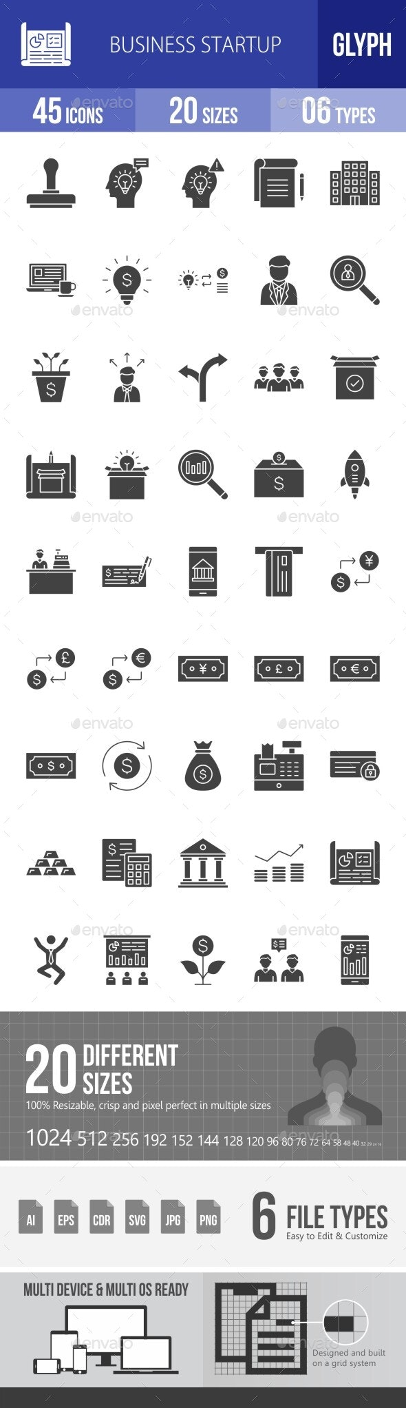 Business Startup Glyph Icons - Icons