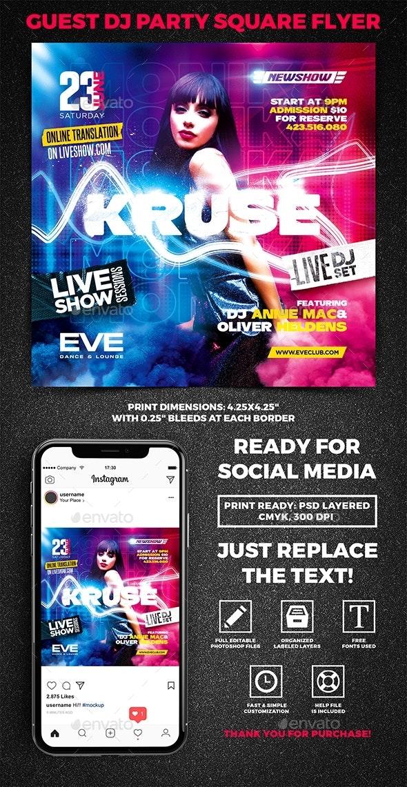Guest DJ Party Square Flyer vol.9 - Clubs & Parties Events