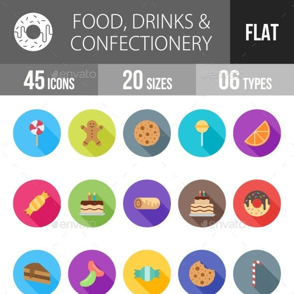 Food, Drinks & Confectionery Flat Long Shadow Icons