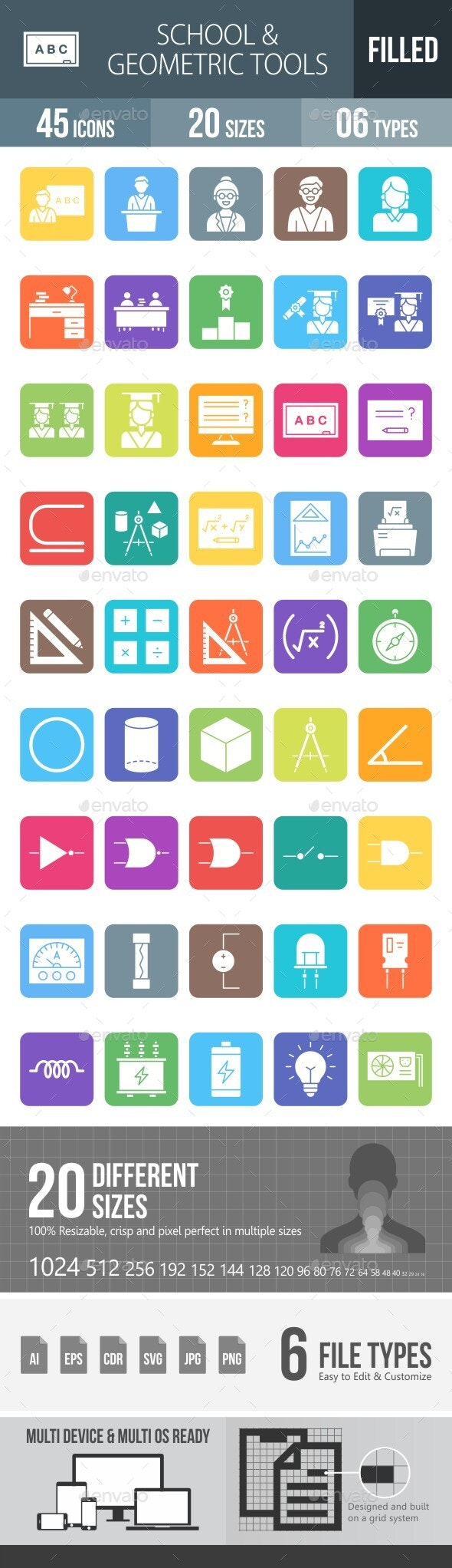 School and Geometric Tools Filled Round Corner Icons - Icons