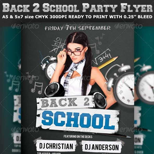 Back to School Party Flyer Template V2