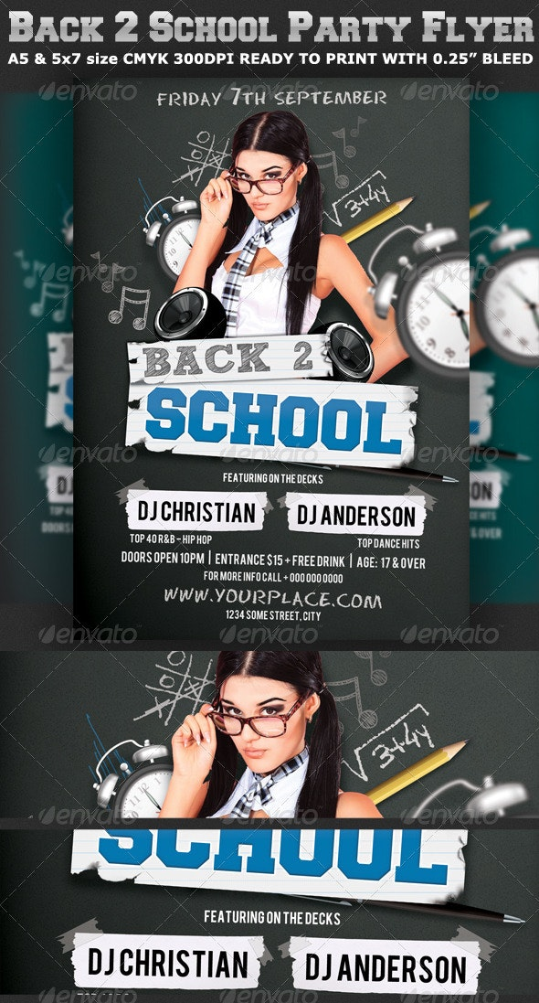 Back to School Party Flyer Template V2 - Clubs & Parties Events