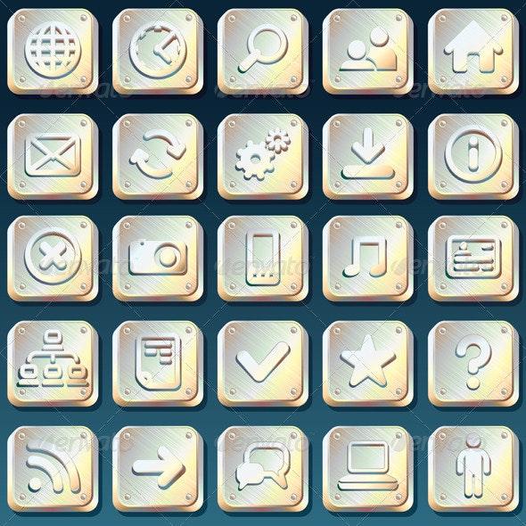 Metallic Interface Icons - Web Elements Vectors