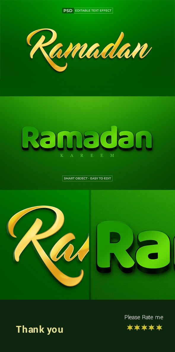Islamic Style Ramadan 3d Text Effect Editable Psd - Text Effects Actions