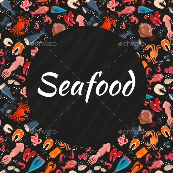 Seafood Seamless Background Pattern Banner Sea - Animals Characters