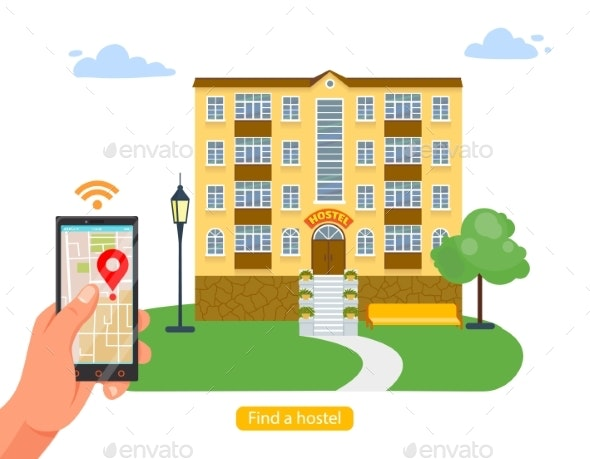 Modern Technology Design App Search Booking Hotel - Technology Conceptual
