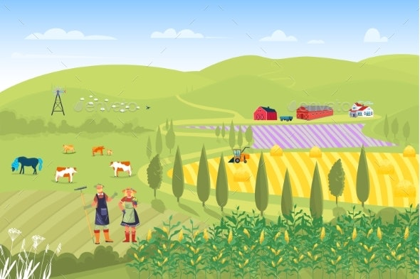 Farmer Family Male Female Harvesting Campaign Crop - Animals Characters