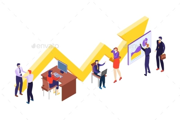 People Teamwork Character Working Office Space - Business Conceptual