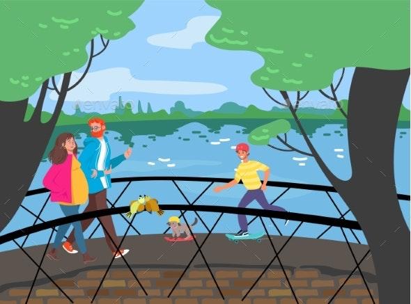 Cheerful People Walking Bridge Across River - People Characters