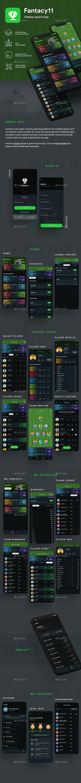 Fantacy League Contest App UI   Fantacy 11 - User Interfaces Web Elements