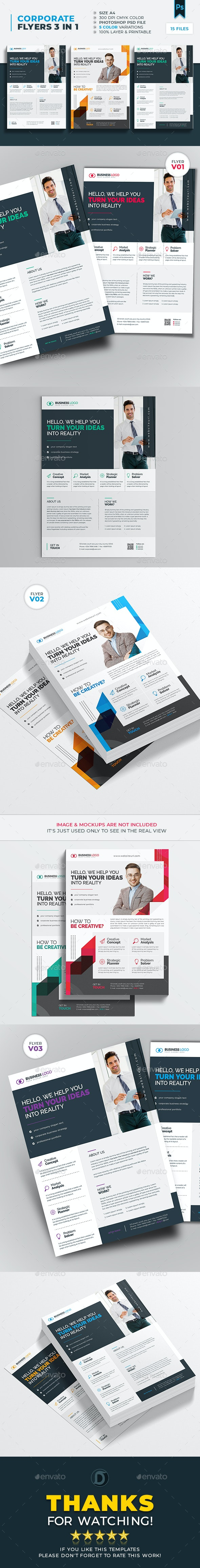 Corporate Flyer 3 in 1 Templates - Corporate Business Cards
