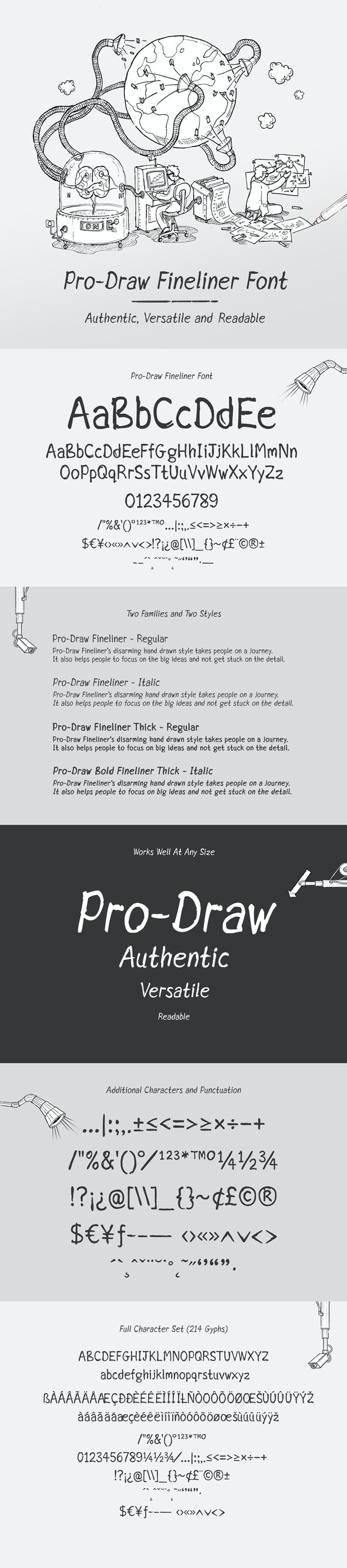 Pro-Draw Fineliner Font - Hand-writing Script