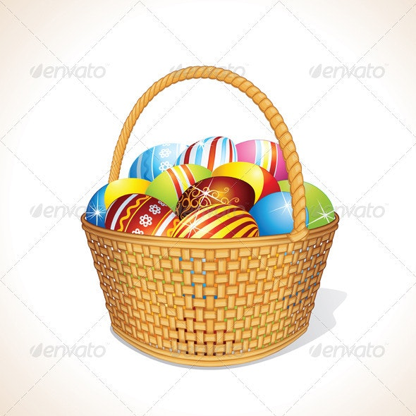 Vector Basket with Eggs - Objects Vectors