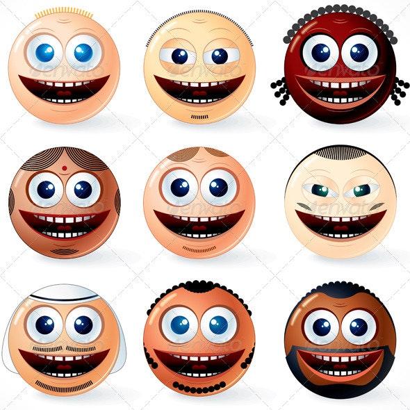 Set of International Smileys - People Characters