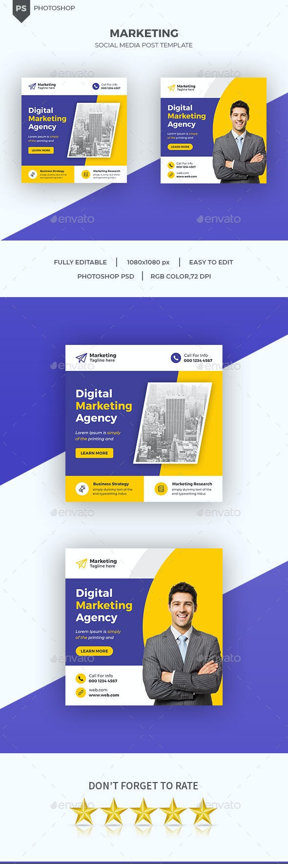 Corporate Social Media Post Banner Template - Social Media Web Elements