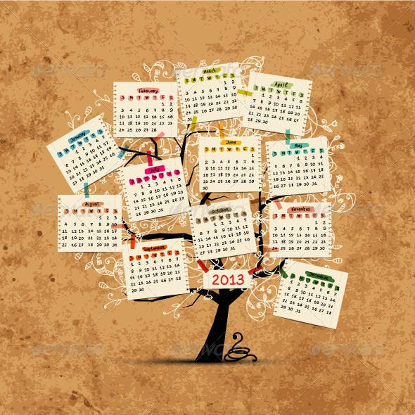 Calendar tree 2013 for your design