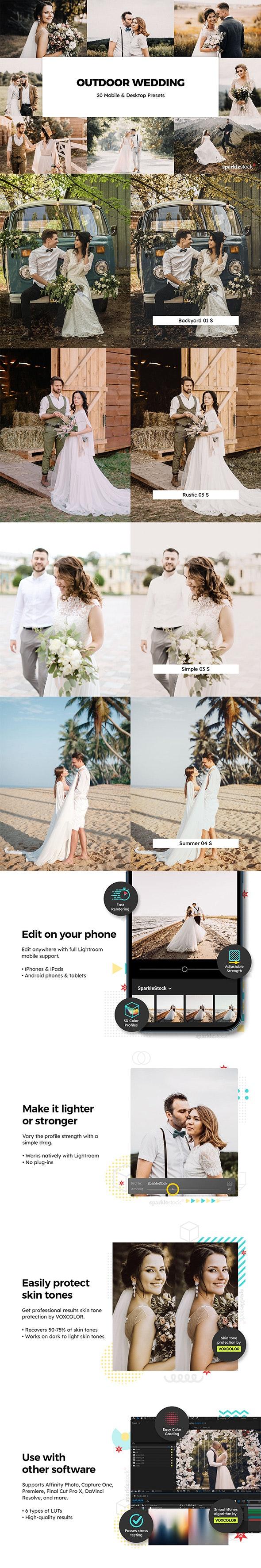 20 Outdoor Wedding Lightroom Presets & LUTs - Wedding Lightroom Presets