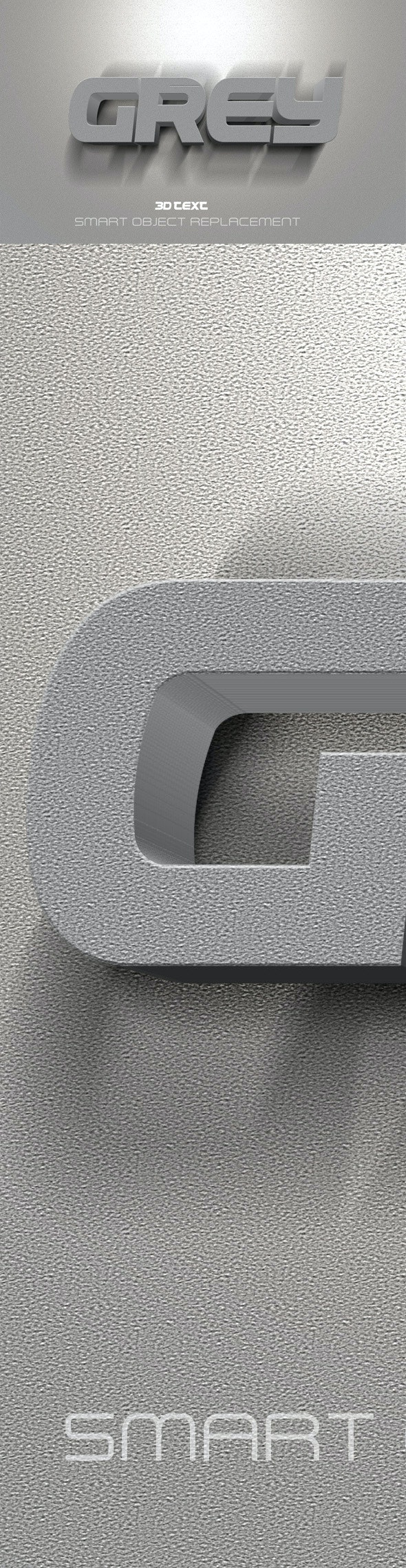 3D Text Grey - Text Effects Actions