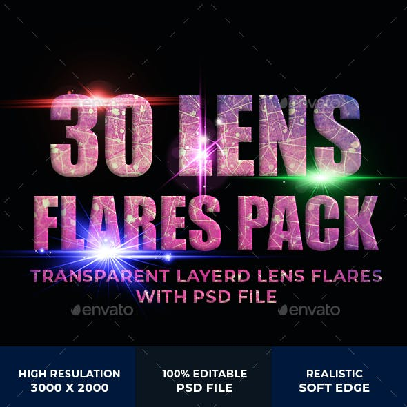 30 High quality transparent lens flare with psd file