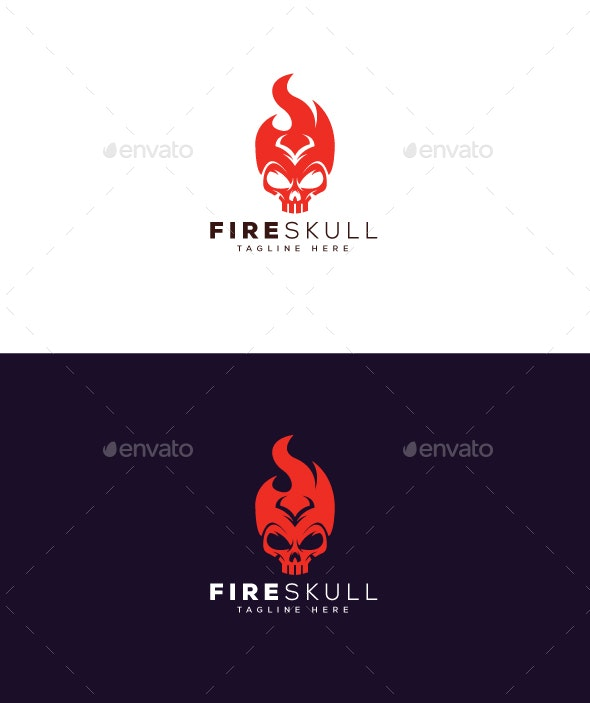 Fire Skull Logo - Objects Logo Templates