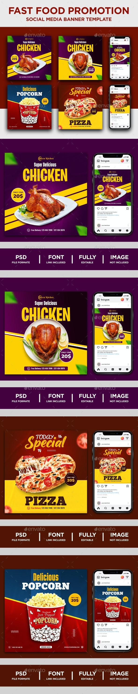 Food Promotion Instagram Social Media Banner Templates - Social Media Web Elements