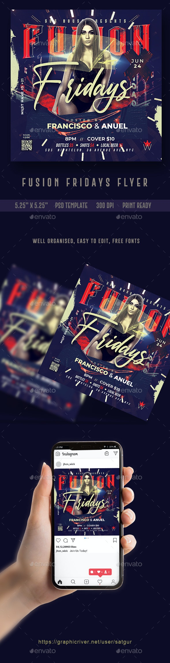 Fusion Fridays Flyer Template - Clubs & Parties Events